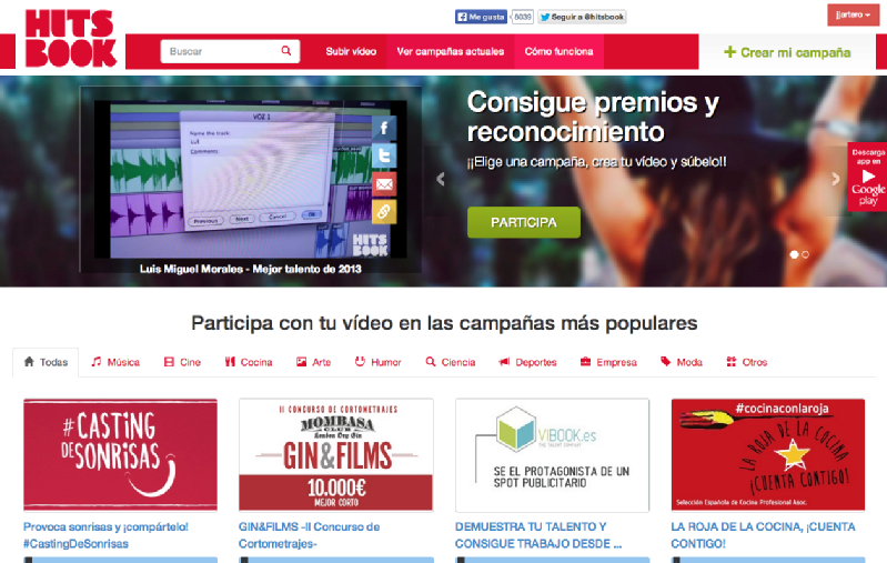 "Images from Hitsbook , ""El Youtube de los concursos"""