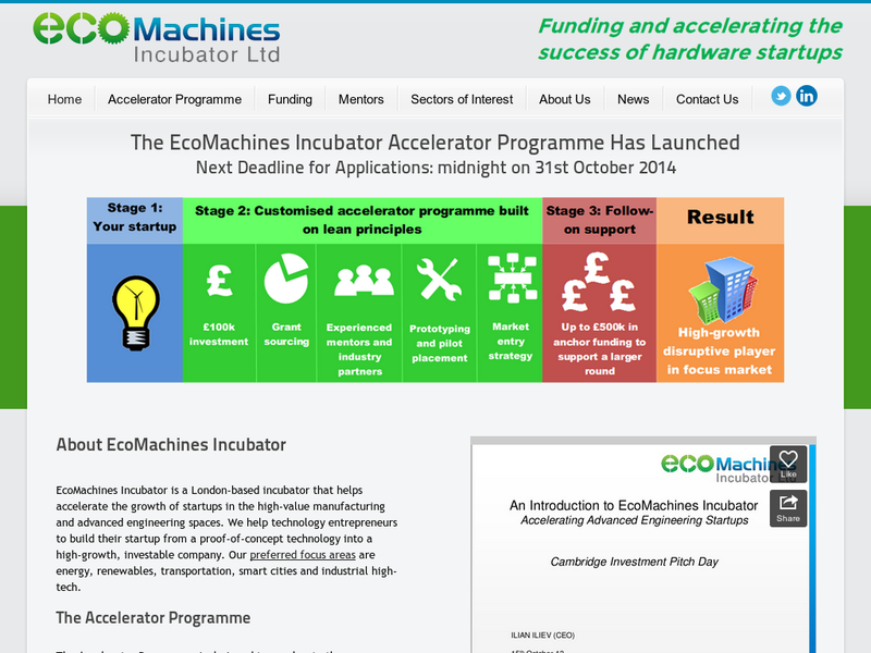 Images from EcoMachines Incubator