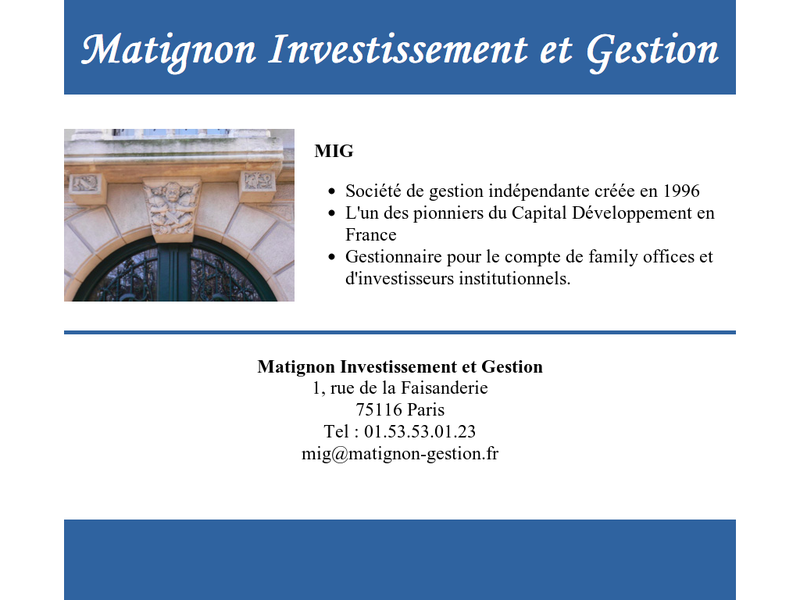 Images from Matignon Investissement et Gestion