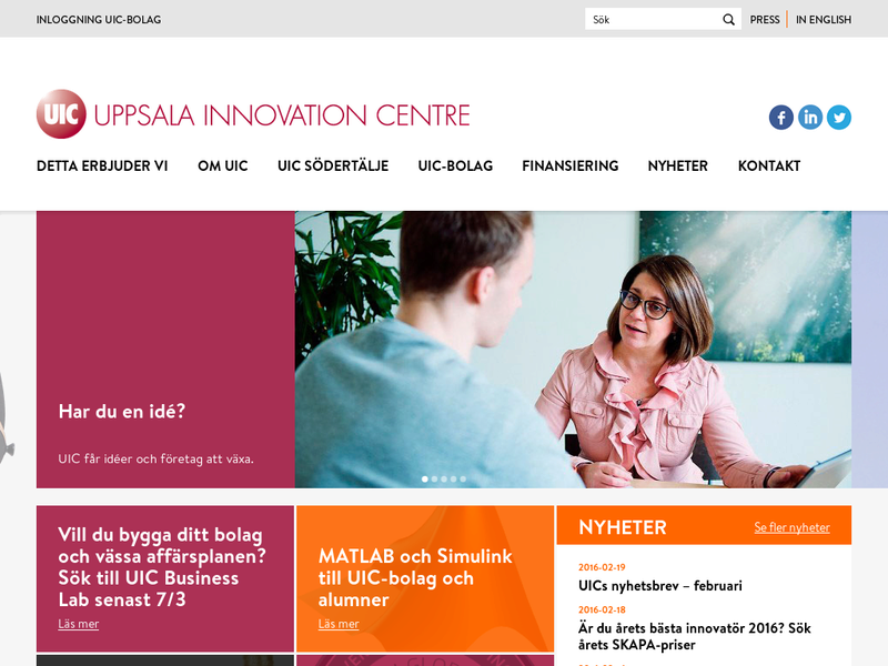 Images from Uppsala Innovation Centre UIC