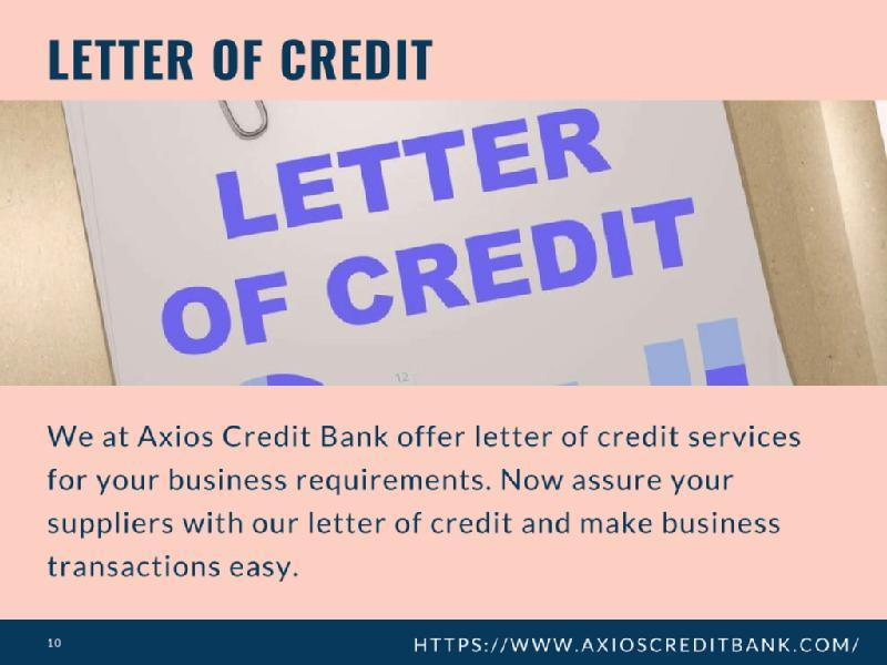 Images from Axios Credit Bank Ltd